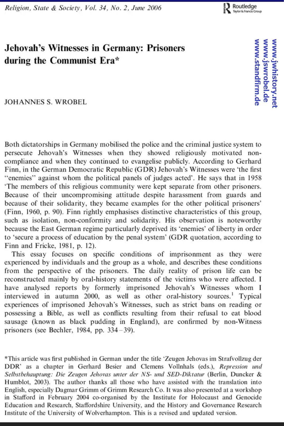 Extern: Fachartikel in Englisch (DDR-Strafvollzug)